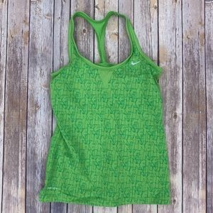 Green Woman's Nike Workout Tank with Built In Bra